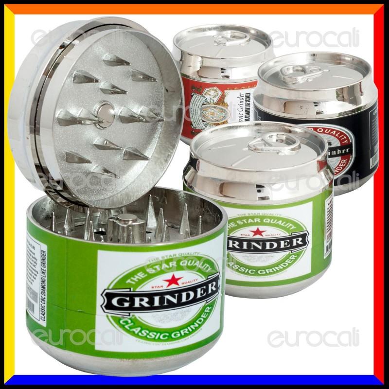 Grinder Tritatabacco 3 Parti in Metallo - Lattina di Birra