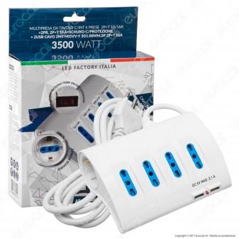 Led Factory Italia Multipresa da Tavolo 6 Posti e 2 Prese USB Colore Bianco con Interruttore e Protezione Termica