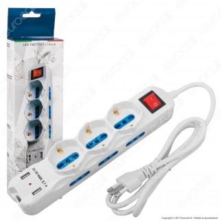 Led Factory Italia Multipresa 9 Posti e 2 Prese USB Colore Bianco con Interruttore