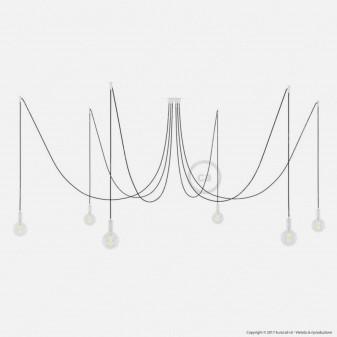 Creative Cables Spider Sospensione Multipla a 5-6-7 Cadute Metallo Bianco Cavo Nero