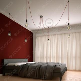 Creative Cables Spider Sospensione Multipla a 5-6-7 Cadute Metallo Nero Cavo Rosso