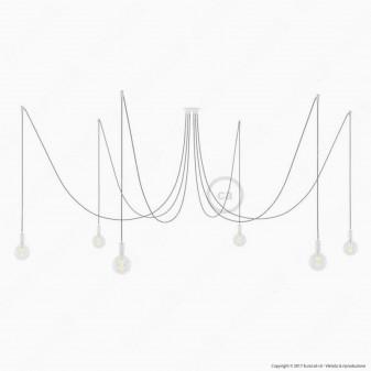 Creative Cables Spider Sospensione Multipla a 5-6-7 Cadute Metallo Bianco Cavo Grigio