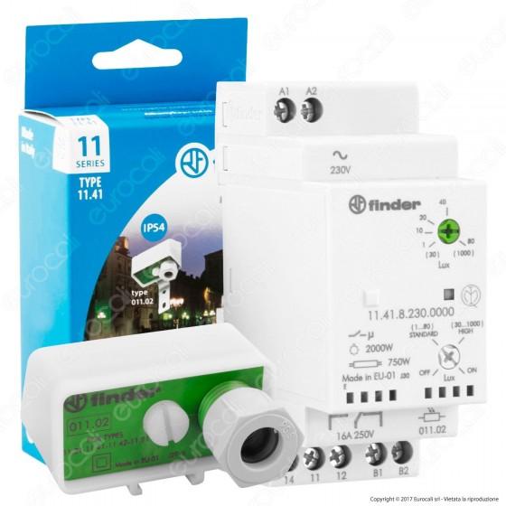 Finder Serie 11 Relè Crepuscolare Modulare 16A a Isteresi Zero con Fotosensore mod. 11.41