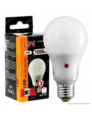 Life Serie GF Lampadina LED E27 12W Bulb A65 con Sensore Crepuscolare - mod. 39.920366SC / 39.920366sN / 39.920366SF