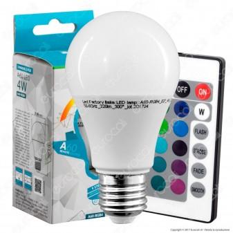Led Factory Italia Multicolor RGB Lampadina LED E27 4W Bulb A60 con Telecomando