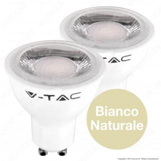 V-Tac VT-2108D Duo Pack Confezione 2 Faretti LED GU10 6,5W Spotlight Dimmerabile - SKU 7306 / 7307 / 7308