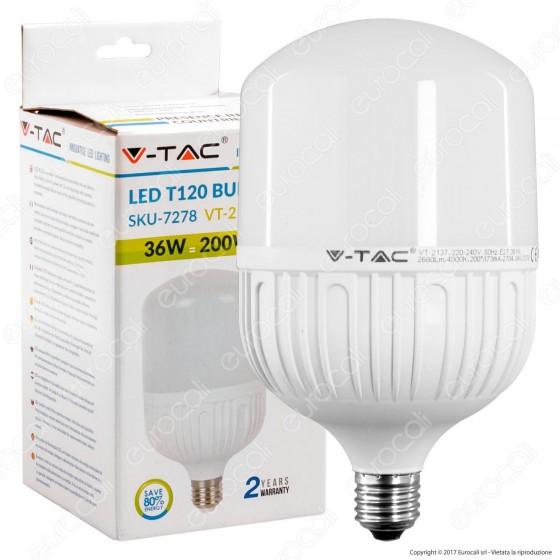 V-Tac VT-2137 Lampadina LED E27 36W Bulb T120 - SKU 7278 / 7279