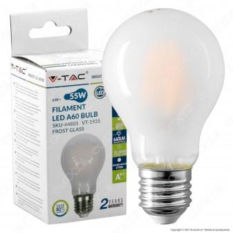 V-Tac VT-1935 Lampadina LED E27 6W Bulb A60 Frost Cross Filament - SKU 44801