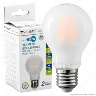 V-Tac VT-2047 Lampadina LED E27 7W Bulb A60 Frost Cross Filament - SKU 71811