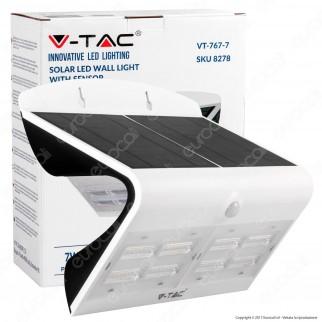 V-Tac VT-767-7 Lampada da Muro LED 7W con Pannello Solare e Sensore Colore Bianco - SKU 8278