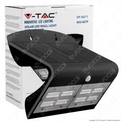 V-Tac VT-767-7 Lampada da Muro LED 7W con Pannello Solare e Sensore Colore Nero - SKU 8279