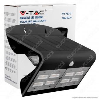 V-Tac VT-767-7 Lampada da Muro LED 7W con Pannello Solare e Sensore Colore Bianco - SKU 8279