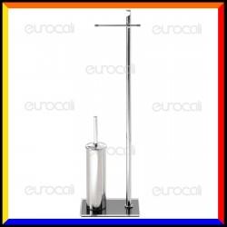 Piantana in Metallo Portarotolo e Portascopino con copertura Base in Plexiglass Colorato - PT20R