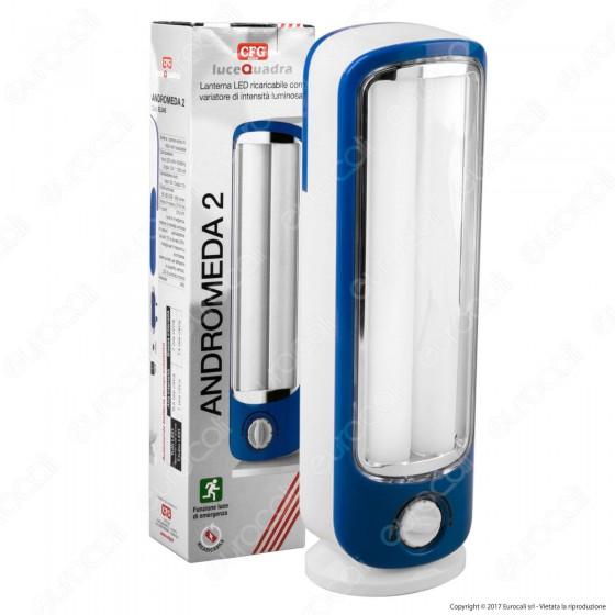 CFG Andromeda2 EL045 Lampada con 2 Tubi LED Anti Black Out Ricaricabile Dimmerabile