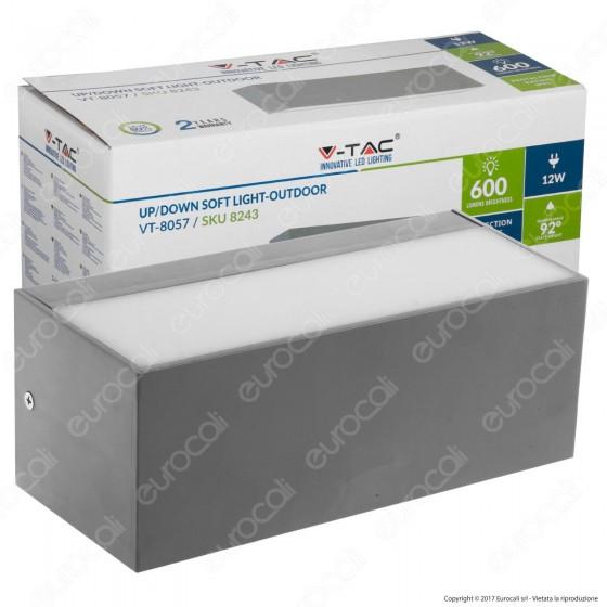 V-Tac VT-8057 Lampada LED da Muro 12W Wall Light Doppia Up&Down - SKU 8242 / 8243 / 8244