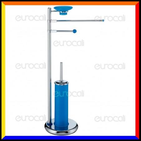Piantana con finiture Blu Porta Asciugamano, Portarotolo e Portascopino - PT31S