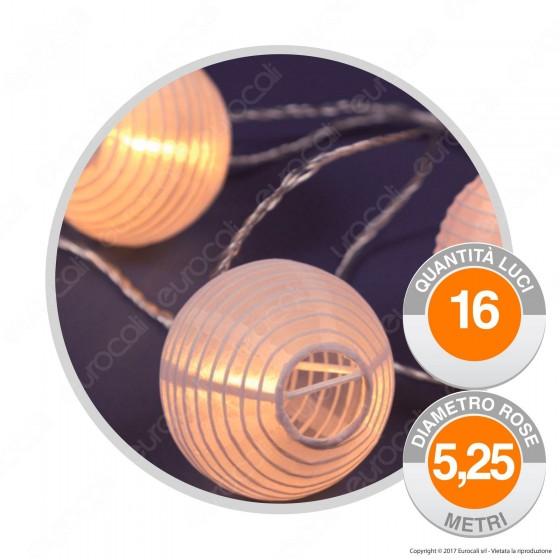 Catena 16 Lanterne LED Bianco Caldo in Carta a Batterie - per Esterno