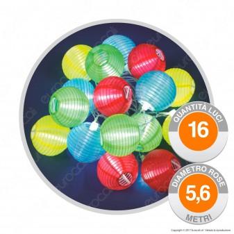 Catena 16 Lanterne in Carta Multicolore con LED di colore Bianco Prolungabile - per Esterno