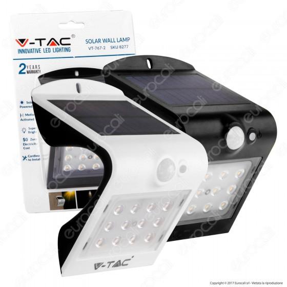V-Tac VT-767-2 Lampada da Muro LED 1,5W con Pannello Solare e Sensore - SKU 8276 / 8277