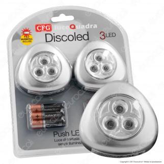 CFG Discoled 2 Push Light con 3 LED a Batteria Accensione a Pressione