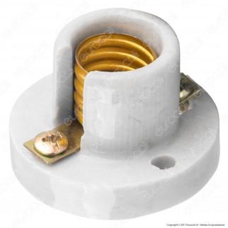 FAI Portalampada E14 in Porcellana Ideale per Lampade Votive - Colore Bianco