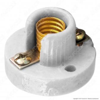FAI Portalampada E10 in Porcellana Ideale per Lampade Votive - Colore Bianco