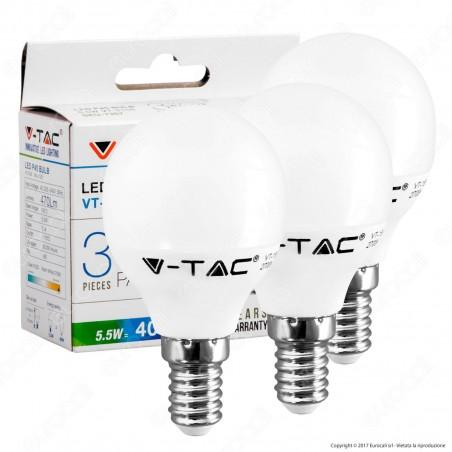 V-Tac VT-2156 Super Saver Pack Confezione 3 Lampadine LED E14 5,5W MiniGlobo - SKU 7357 / 7358 / 7359