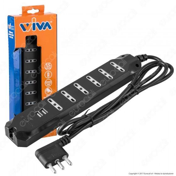 Wiva Multipresa 6 Posti e 2 Prese USB Colore Nero