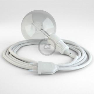 Creative Cables Snake Lampada Multiuso con Portalampada per Lampadine E27 - Cavo Cotone Bianco