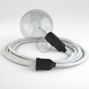 Creative Cables Snake Lampada Multiuso per Lampadine E27 - Cavo Cotone Bianco