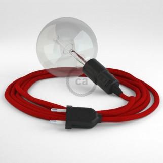Creative Cables Snake Lampada Multiuso con Portalampada per Lampadine E27 - Cavo Cotone Rosso Fuoco