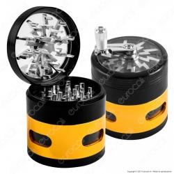 Grinder Blitz Tritatabacco 4 Parti in Metallo - con Manovella e finestra ispezione