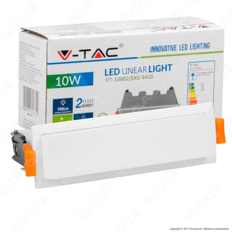 V-Tac VT-10002 Pannello LED Lineare 10W SMD da Incasso con Driver
