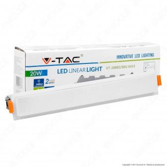 V-Tac VT-20002 Pannello LED Lineare 20W SMD da Incasso con Driver - SKU 6413 / 6414 / 6415