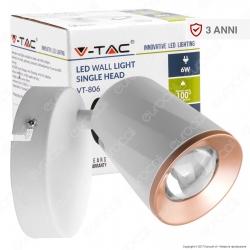 V-Tac VT-806 Lampada da Muro Wall Light LED 6W Colore Bianco - SKU 8250 / 8252