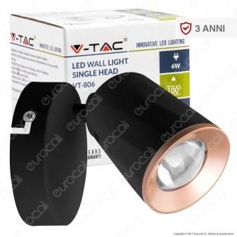 V-Tac VT-806 Lampada da Muro Wall Light LED 6W Colore Nero - SKU 8251 / 8253