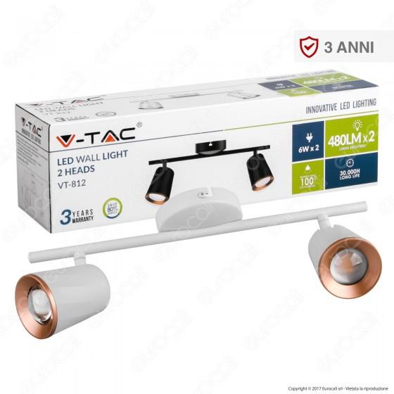 V-Tac VT-812 Lampada da Muro Wall Light LED 12W Colore Bianco - SKU 8255 / 8257