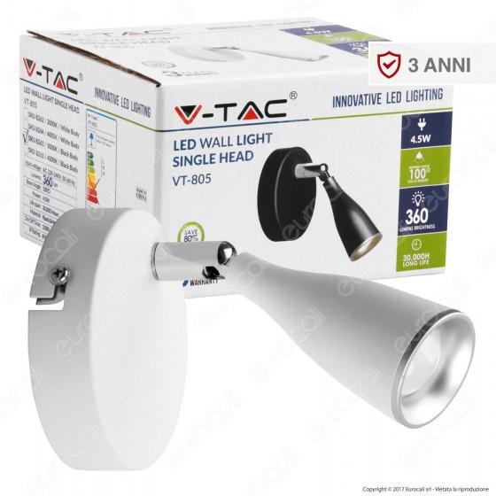V-Tac VT-805 Lampada da Muro Wall Light LED 4,5W Colore Bianco - SKU 8262 / 8264