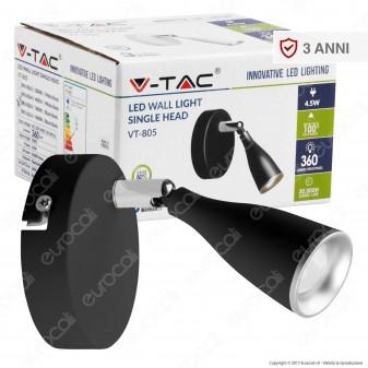 V-Tac VT-805 Lampada da Muro Wall Light LED 4,5W Colore Nero - SKU 8263 / 8265