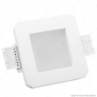V-Tac VT-801SQ Portafaretto Quadrato da Incasso in Gesso e Vetro per Lampadine GU10 e GU5.3 - SKU 3691