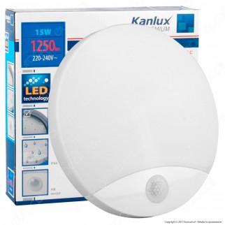 Kanlux Plafoniera LED 15W mod. SANSO Bianca Forma Circolare IP44 con Sensore di Movimento