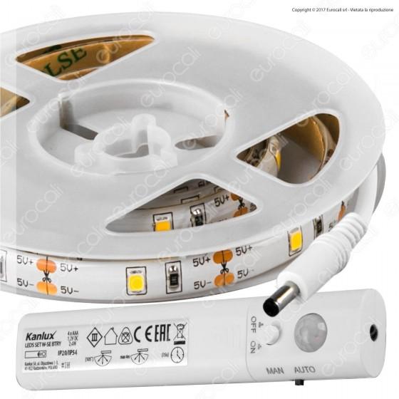 Kanlux Striscia LED 2,4W Colore Bianco Caldo con Sensore Lunghezza 1m a Batterie