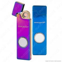 Silver Match Accendino USB in Metallo Antivento Ricaricabile 2 Colorazioni - 1 Accendino