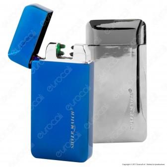 Silver Match Accendino USB in Metallo a Specchio Antivento Ricaricabile con Arco al Plasma - 1 Accendino