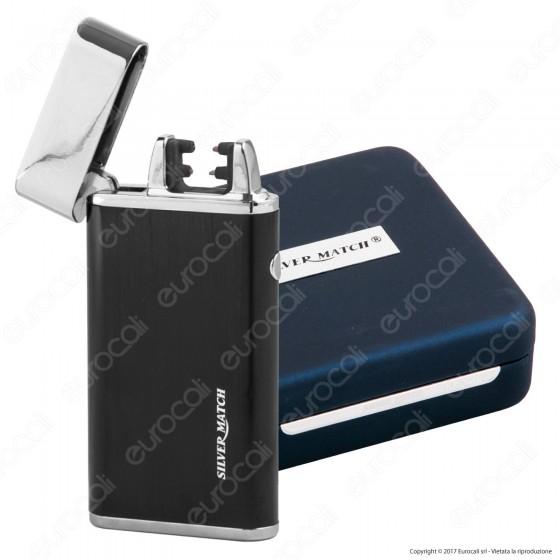 Silver Match Accendino USB in Metallo Antivento Ricaricabile con Doppio Arco al Plasma - 1 Accendino