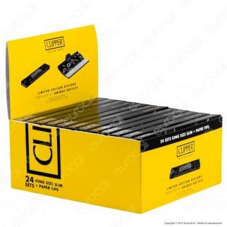 Clipper Set Cartine Black King Size Slim Lunghe e Filtri in Carta - Scatola da 24 Libretti