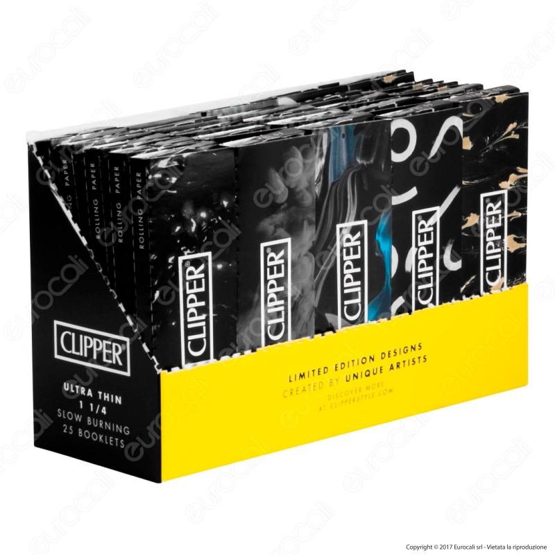 Cartine Clipper Nere Corte 1¼ - Scatola da 25 Libretti