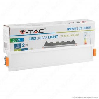 V-Tac VT-20001 Pannello LED Lineare 20W SMD da Incasso con Driver - SKU 6404 / 6405