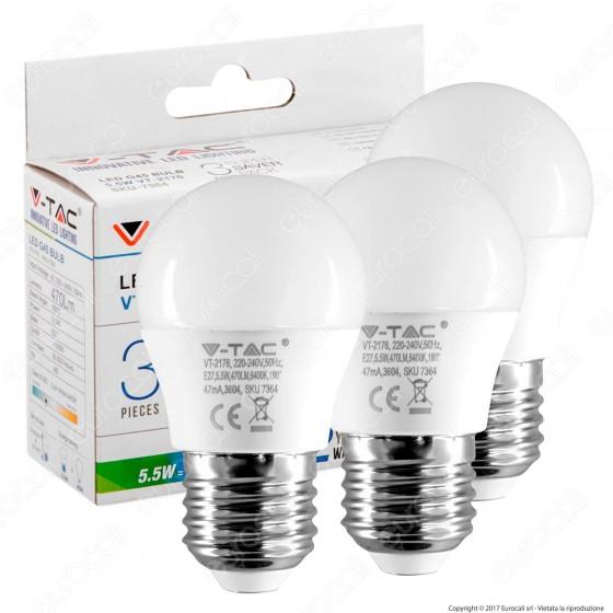 V-Tac VT-2176 Super Saver Pack Confezione 3 Lampadine LED E27 5W MiniGlobo G45 - SKU 7364 ⭐️PROMO 3X2⭐️