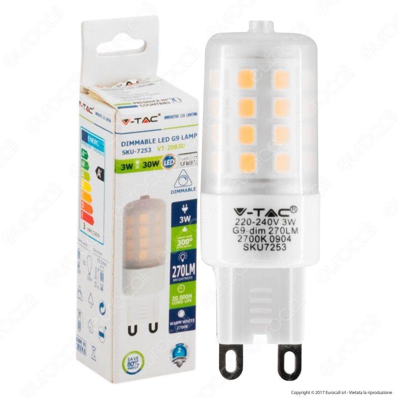 Vt 2083d v tac lampadina led g9 3w bulb dimmerabile for Lampadine g9 led